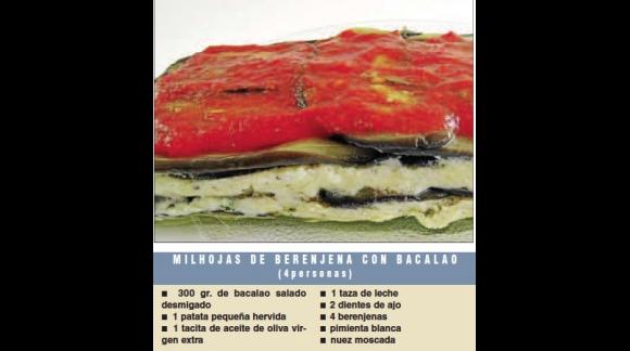 Mil fulls d'albergínia amb bacallà i oli de Jornets  Lydia E. Corral Ultima Hora, Mallorca 17/8/14.  Serra de Tramuntana.Mallorc